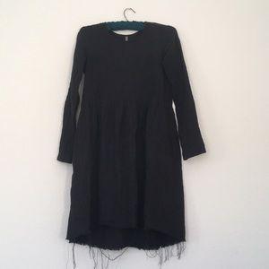 Ovate Black Linen Long Sleeve Dress S